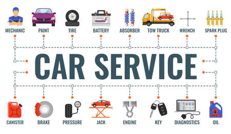 Car service horizontal banner with flat icons for advertising and service station like mechanic, tow truck, oil, diagnostics. Typography banner. Isolated vector illustration
