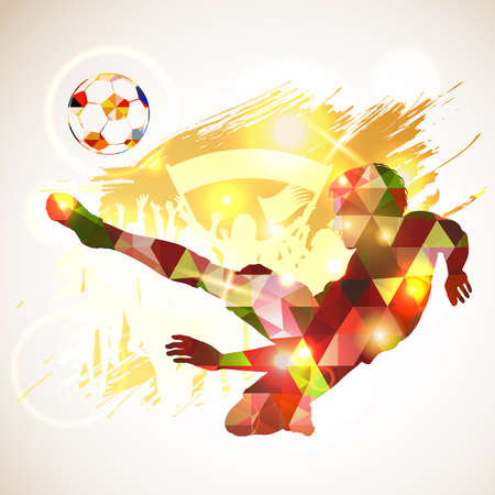 Poster silhouette soccer player victory blow and soccer ball in mosaic triangle pattern. Fans with posters on grunge background. Vector illustration
