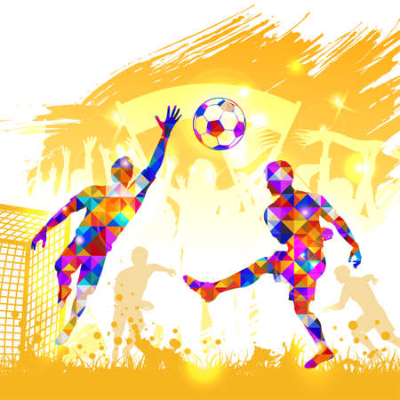 Poster silhouette soccer player victory blow, goalkeeper and soccer ball in mosaic triangle pattern. Fans with posters on grunge background. Vector illustration