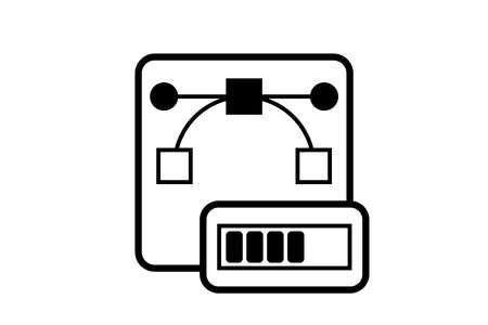 Vector file processing icon. Can be used for logo or for application. Vector file icon and progress bar. Isolated illustration. 向量圖像