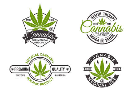 Medical marijuana product labels with organic hemp leaves. Cannabis logo design template for emblem, wellness medical therapy, sticker or advertisement. Isolated vector illustration