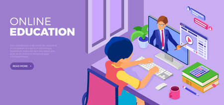 Character sits at table and learning online from home. Student with tutorial  looks at monitor with teacher. Online education concept. Flat isometric vector illustration
