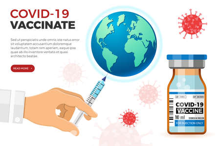 Doctor with syringe in hand vaccinates Earth. Coronavirus vaccine in medical bottle. Treatment injection for coronavirus covid-19. Landing page template. Isolated vector illustration
