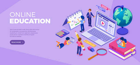 Students learning online from home. Male and female characters sit on books, study on laptops, plan schedule with teacher. Online education concept. Flat isometric vector illustration