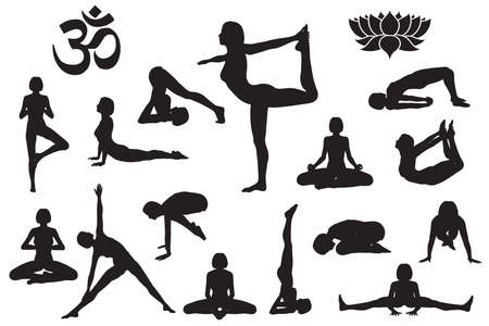 Silhouettes of girl in yoga poses. Yoga symbol Om aum and lotus flower. Isolated vector illustration set 向量圖像
