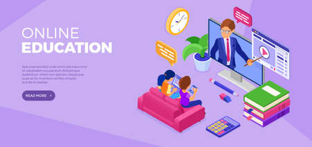 Online distance education banner with isometric character. Internet course or online learning from home with teacher. Distance home education technology. Landing page. Isometric vector illustration
