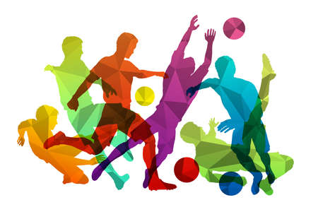 Soccer players with ball. Sports soccer team silhouettes decorated with triangle mosaic pattern. Football players and goalkeeper posing with ball. Isolated vector illustration