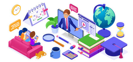 Online study Distance education banner with isometric character Internet course or online learning from home with teacher Distance home education technology Isolated isometric vector illustration 向量圖像