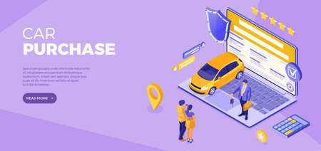 Online buy car Distance technology sale purchase car Auto rental carsharing Landing page advertising with car laptop dealer key couple with credit card Isometric vector illustration 向量圖像