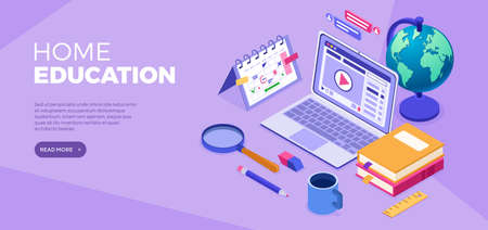 Online distance education banner. Internet course or online learning from home. Distance home education technology. Landing page template. Isometric isolated vector illustration