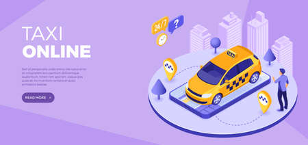 Online orders taxi from smartphone Distance technology taxi service Landing page advertising 24 hour service banner with people, car, map and route pin Isometric vector illustration