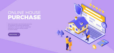 Online buy house Distance technology sale purchase house Rent, mortgage home Landing page advertising with home laptop realtor Family investment in real estate Isometric vector illustration 向量圖像