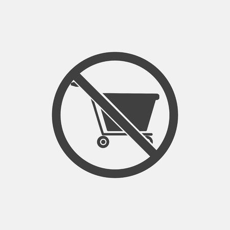 No shopping cart icon vector illustration.