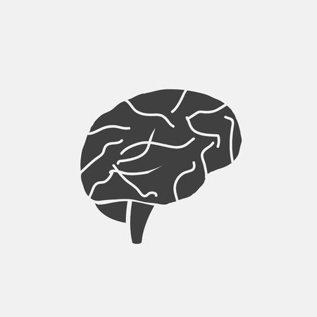 A brain icon vector illustration. organ icon vector Çizim