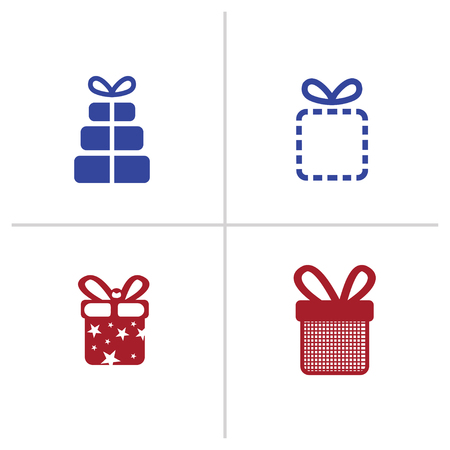 Gift box icons on white background. Vector illustration. 4 gift box icon. colored icons
