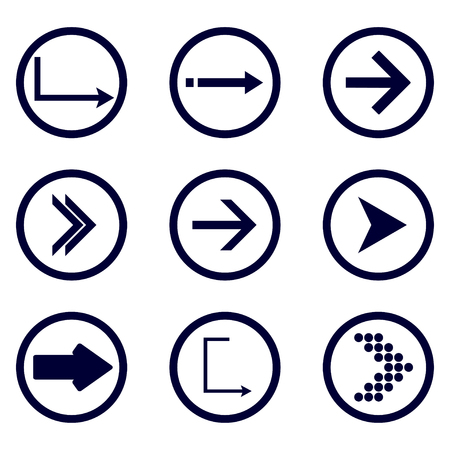 Direction arrows vector collection. Set different Black Arrow Icon. Vector Collection. vector