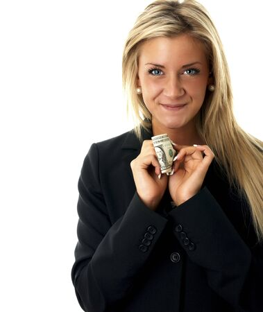 Happy friendly business girl with a dollar bill and beautiful eyes Stock Photo - 6335178
