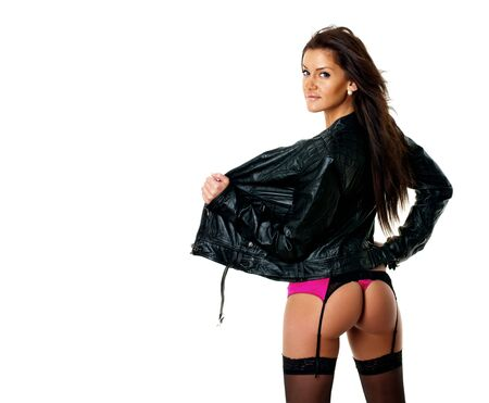 Hot girl in lingerie and leather jacket Stock Photo - 6452677