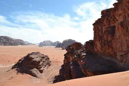 Panorama of the red desert. Wadi Rum.