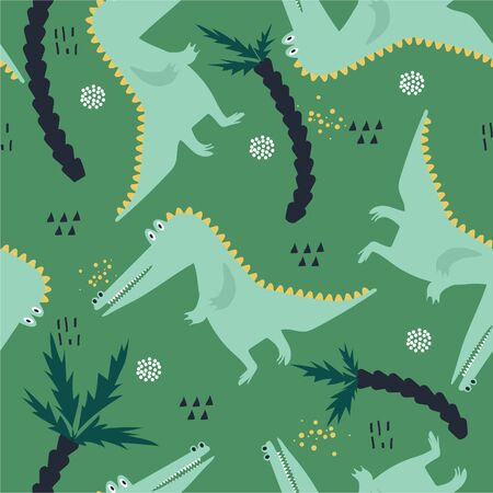 Crocodiles, palm trees, hand-drawn backdrop. Colorful pattern with animals. Design illustration, reptiles