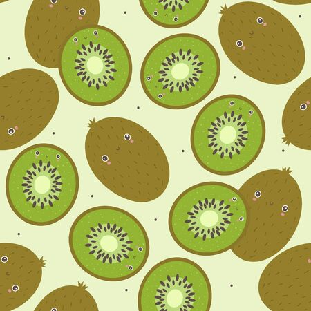 Fresh kiwi background. Hand drawn overlapping backdrop. Colorful wallpaper vector. Seamless pattern with fruits. Decorative illustration, good for printing