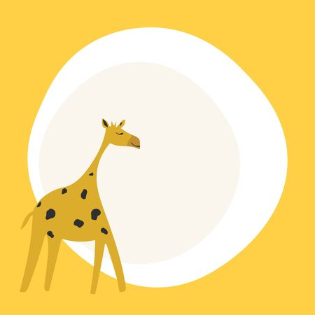 Hand drawn illustration with giraffe and place for text. Colorful background. Poster design with animal. Decorative backdrop vector. Funny card