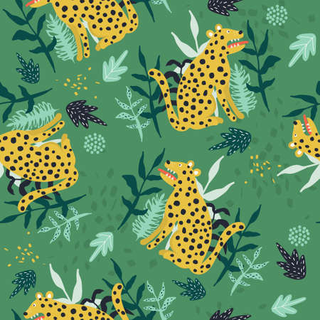 Leopards, plants, hand drawn backdrop. Colorful seamless pattern with animals. Decorative cute wallpaper, good for printing. Overlapping background vector. Design illustration