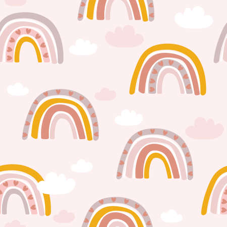 Rainbow, hand drawn backdrop. Colorful seamless pattern with clouds, hearts. Decorative cute wallpaper, good for printing. Overlapping colored background vector. Design illustration