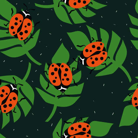 Seamless pattern, ladybugs and palm leaves, hand drawn overlapping backdrop. Colorful background vector. Cute illustration, insects. Decorative wallpaper, good for printing