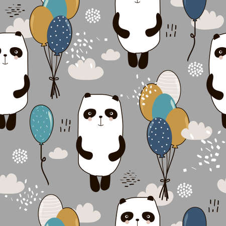 Pandas, air balloons, hand drawn backdrop. Colorful seamless pattern with animals. Decorative cute wallpaper, good for printing. Overlapping colored background vector. Design illustration Vector Illustration