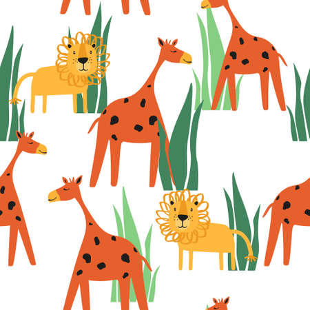Giraffes, lions in grass, hand drawn backdrop. Colorful seamless pattern with animals. Decorative cute wallpaper, good for printing. Overlapping background vector. Design illustration