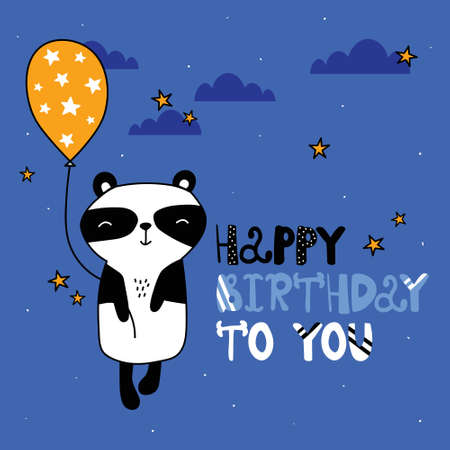 Hand drawn illustration, panda, stars, air balloon, english text. Colorful background vector. Poster design with animal. Happy birthday to you. Decorative backdrop, good for printing