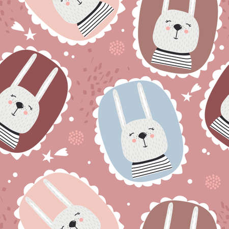 Bunnies, hand drawn backdrop. Colorful seamless pattern with animals. Decorative cute wallpaper, good for printing. Overlapping background vector. Design illustration, rabbits