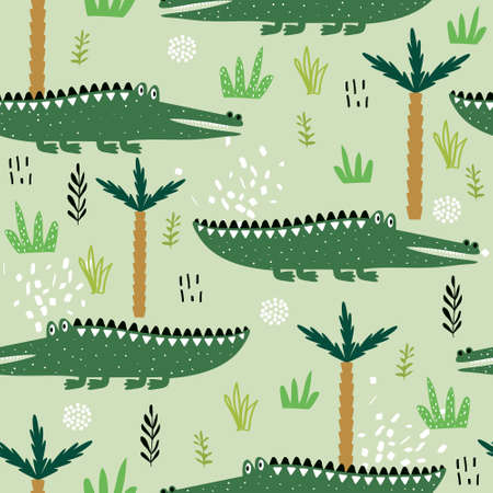 Crocodiles, palm trees, hand drawn backdrop. Colorful seamless pattern with animals. Decorative cute wallpaper, good for printing. Overlapping background vector. Design illustration, reptiles