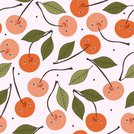 Cherries, hand drawn seamless pattern. Overlapping background, berries vector. Colorful illustration with food. Decorative wallpaper, good for printing. Design backdrop