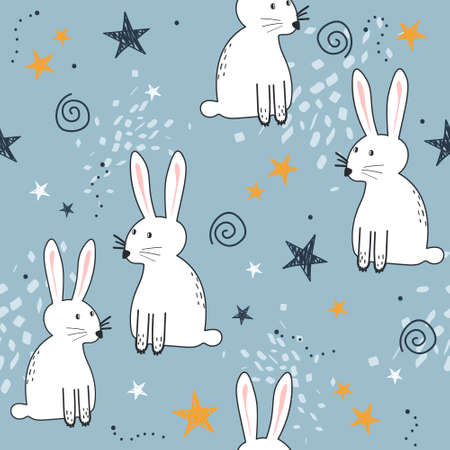 Bunnies, hand drawn backdrop. Colorful seamless pattern with animals, stars. Decorative cute wallpaper, good for printing. Overlapping background vector. Design illustration, rabbits