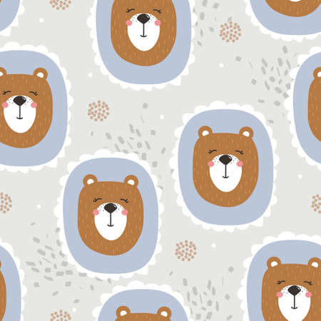 Bears, hand drawn backdrop. Colorful seamless pattern with animals. Decorative cute wallpaper, good for printing. Overlapping background vector. Design illustration