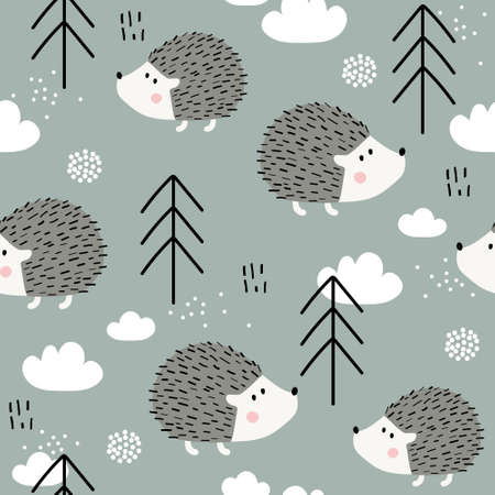 Happy hedgehogs, fir trees, hand drawn backdrop. Colorful seamless pattern with animals, forest. Decorative cute wallpaper, good for printing. Overlapping colored background vector. Design illustration