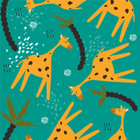 Giraffes and palm trees, hand drawn backdrop. Colorful seamless pattern with animals. Decorative cute wallpaper, good for printing. Overlapping background vector. Design illustration