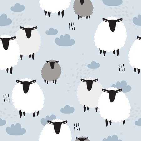 Sheeps, hand drawn backdrop. Colorful seamless pattern with animals, sky. Decorative cute wallpaper, good for printing. Overlapping background vector Illusztráció