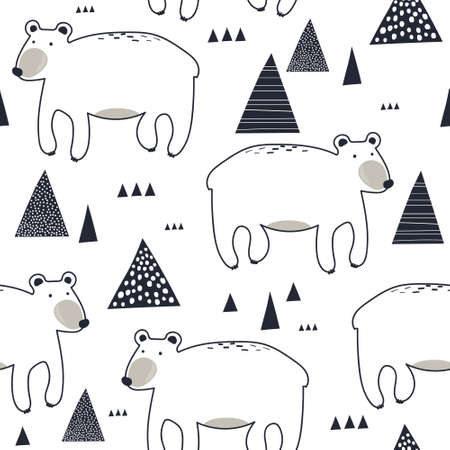 Bears, hand drawn backdrop. Seamless pattern with animals. Decorative cute wallpaper, good for printing. Overlapping background vector. Design illustration Illusztráció