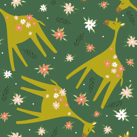Giraffes, flowers, leaves, hand drawn backdrop. Colorful seamless pattern with animals. Decorative cute wallpaper, good for printing. Overlapping background vector. Design illustration