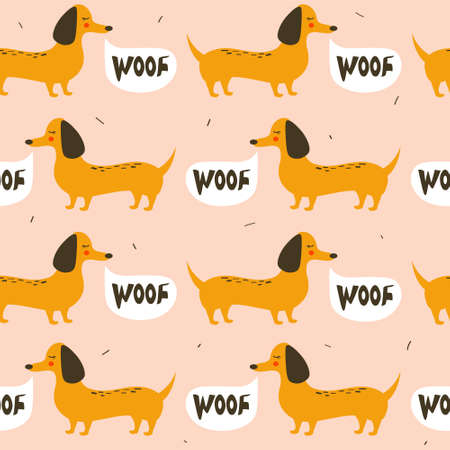 Happy dogs, hand drawn backdrop. Colorful seamless pattern with animals. Decorative cute wallpaper, good for printing. Overlapping background vector. Design illustration, dachshunds