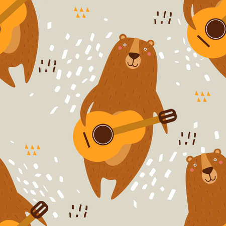 Bears, hand drawn backdrop. Colorful seamless pattern with animals, guitars. Decorative wallpaper, good for printing. Overlapping colored background vector. Design illustration Vetores