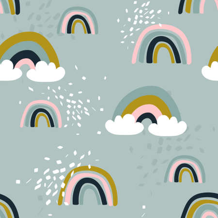 Rainbow, hand drawn backdrop. Colorful seamless pattern with clouds. Decorative cute wallpaper, good for printing. Overlapping colored background vector. Design illustration Illustration