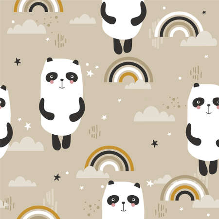 Pandas, hand drawn backdrop. Colorful seamless pattern with animals, rainbow. Decorative cute wallpaper, good for printing. Overlapping colored background vector. Design illustration Illustration