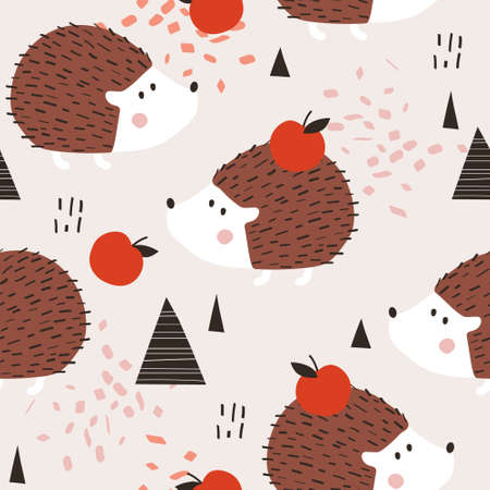 Happy hedgehogs, apples, hand drawn backdrop. Colorful seamless pattern with animals. Decorative cute wallpaper, good for printing. Overlapping colored background vector. Design illustration
