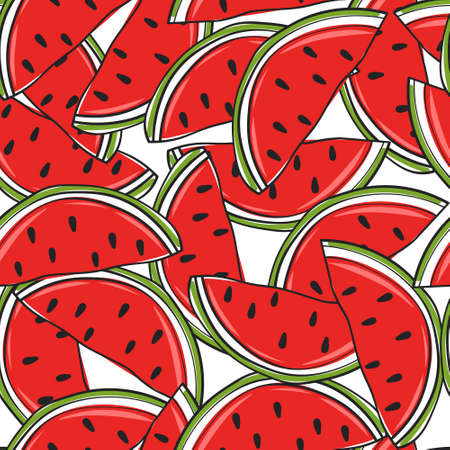Fresh fruits, hand drawn backdrop. Colorful wallpaper vector. Seamless pattern with ripe watermelons. Decorative illustration, good for printing. Overlapping background design