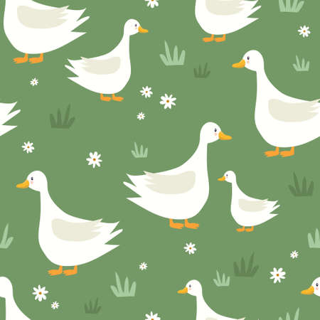 Seamless pattern, birds, hand drawn overlapping backdrop. Colorful background vector. Cute illustration, geese, flowers. Decorative wallpaper, good for printing Vettoriali