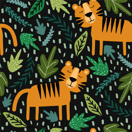 Tigers, plants, hand drawn backdrop. Colorful seamless pattern with animals. Decorative cute wallpaper, good for printing. Overlapping background vector. Design illustration